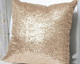 Luxury Glamour. Champagne Sequins Embellished Pillow Cover. Christmas Sparkly Bling 16inch Cushion Cover. Sparkling Champagne Wedding Decor