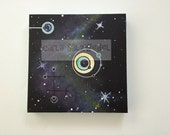 acrylic painting | abstract | 12 x 12 canvas | MCM | modern | cosmic | boomerang | atomic | universe | stars | original art | COA