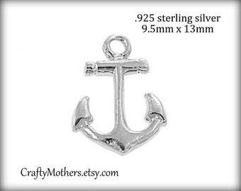 2 Bali Sterling Silver Bright Anchor Charms, 13mm x 9.5mm, artisan-made supplies, precious metals - Take 15% off with 15OFF20,