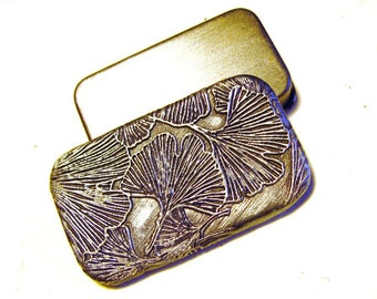 Ginkgo Pill Box Antiqued Silver Purse Accessory Elegant Gift Handmade Art Pill Case Slide Top Tin FREE Velvet Gift Pouch Pocket Pill Holder