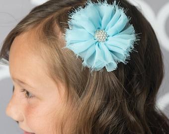 Blue hair clip, chiffon hair clip, bridal hair accessory, girl birthday gift, blue hair clip, bridal hair clip, girl hair clip, toddler hair
