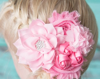 Pink hair clip, pink rosette hair clip, flower hair clip, girl hair clip, hair accessories, pink wedding hair clip, flower girl gift