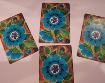4 Vintage Playing Cards bLUE FORGET ME NOT  swap cards