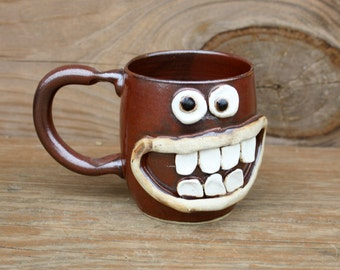 Red Coffee Cup. Soup Mugs. Funny Pottery Mugs. Smiley Face Mug. Happy Cheerful Morning Coffee Cup. Gifts for Guys, Husband Boyfriend.
