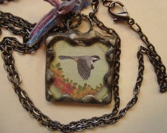 Bird in Flight  PENDANT,  Soldered Glass Art Pendant, Fly, Encouragement