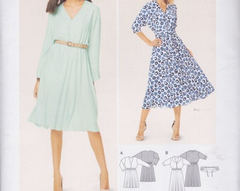 Burda Style Pattern 6629 Easy Pullover Dress, Blouson Top, Full Skirt, Elasticized Waist, Sleeve & Hemline Variations Misses' Sizes 10 - 20