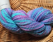Handspun Merino Yarn, Fractal Spin, Blue Pink and Purple Hand-dyed Yarn