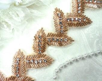 """Leaf Trim Rose Gold Beaded Crystal Clear Rhinestone Leaves Vine 1.75"""" (DH60-rsglcr)"""