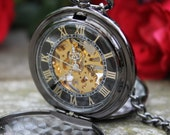 Engravable Black & Gold Pocket Watch with Watch Chain - Groomsmen Gift - Gift Sets - Premium Watch - Double Cover - Item MPW163-blk