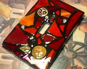 RED Glass Mix - STAINED Glass MOSAIC Light Switch Cover - Made to order