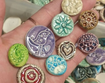 15 CERAMIC mini TILES - Mixed designs - glazed - Great for MOSAICS, magnets, jewelry designs, and more