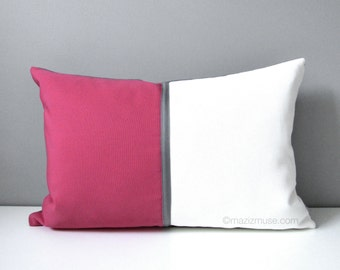 Hold for Nicolette - Pink & White Outdoor Pillow Cover, Decorative Art Deco Color Block, Modern Pink Grey White Sunbrella Cushion Cover