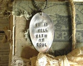 "Spoon Necklace, Stamped Spoon Necklace ""It Is Well With My Soul"" Re Purplsed Spoon Jewelry, Boho Chic Jewelry, Stamped Metal Jewelry, Spoon"
