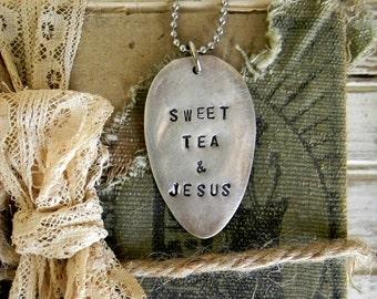 Spoon Necklace, Stamped Spoon Necklace Sweet Tea & Jesus Spoon Jewelry, Repurposed Silverware Silver Spoon Necklace, Southern Quote Necklace