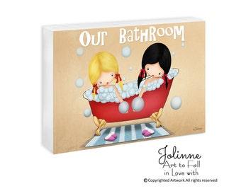 Bathroom Sign Door Personalized Bath Sign Children's Bathroom Cute Signs For Kids Custom name hair and skin color Artwork for Girls