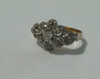 Vintage Art Deco 18k gold and silver ring