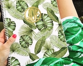 Monogram Spiral Notebook - BANANA LEAF Collection - Personalized Spiral Journal by A Blissful Nest