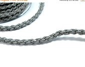"ON SALE Satin thick ""chain"" braided silk cord, grey, 1m"