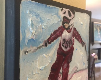 """Child skier, race, from your photograph or as is, 2"""" thick canvas, 8""""x8"""""""