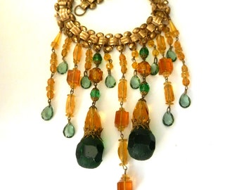 Stunning ornate Victorian bib necklace - Great book chain and fantastic Czech glass beads in green and amber- for collection - Art.540/4 -