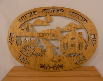 HOME SWEET HOME Hand Made Scroll Saw Plaque