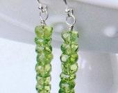 Faceted Apple Green Peridot Sterling Silver dangle earrings drop dangle rondelle earwire gemstone gift giftbox handmade wire wrapped ear