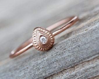 Delicate Drop Shaped Bindi Diamond Ring 14K Rose Gold Symbolic Bridal Gift Good Luck Marriage Wedding Engagement Ring - Teardrop Blessing