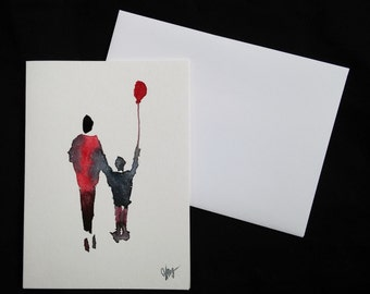 Original painting on greeting card — Greeting Card / hand painted / Original Watercolor / blank inside / 5 x 7 / with Envelope