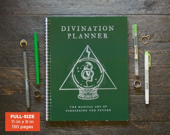 Divination Planner - Green  / Weekly / Full-Size / 12 Months / Choose Your Layout (Vertical or Horizontal) / Pick Your Starting Month