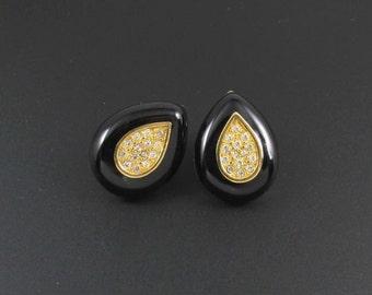 Rhinestone Earrings, Teardrop Earrings, Black Earrings, Gold Earrings, Napier Earrings, Holiday Earrings