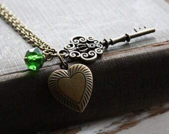 Personalized locket necklace ,birthstone necklace, key locket necklace , locket necklace, Personalized jewelry locket, Heart locket - Lola