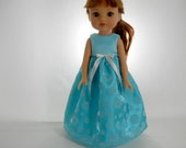 Designed to fit 14 inch dolls like H4H doll clothes, Turquoise Flower Full-Length Dress, 01-0815
