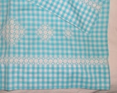 Vintage BLUE GINGHAM PILLOWCASES • Hand Embroidered Pair