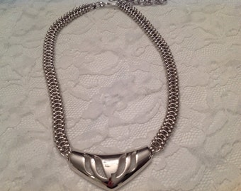 Monet Necklace Silver ~ Unique Chain ~ Vintage Jewelry ~ Signed Costume Jewelry ~ Gift for Her ~ Thick  Chain ~  Silver Tone Necklace