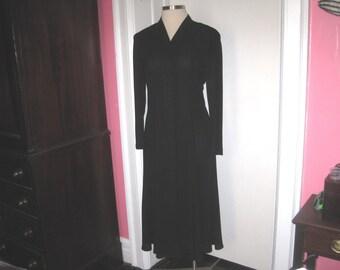 Long Black Ms. Chaus Dress Long Sleeves Three Quarter Length Vintage Size 14