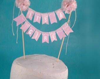 "Cake topper, baby shower, baby girl banner, ""It's a Girl"" A184 - pom pom bunting cake banner"