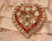 Vintage Rhinestone Heart Brooch-Heart Jewelry-Vintage Jewelry-Vintage Brooch-Rhinestone Jewelry-Valentines Day Gift-Gift-Roadsidebridge