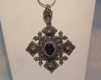 Large Sterling Amethyst Cross Necklace Jerusalem 900 Jewelry Large Sterling Cross Byzantine Cross