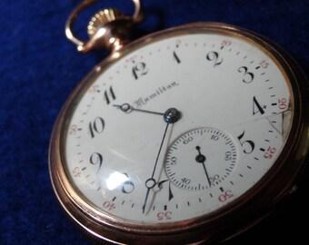Hamilton 16 Size 17 Jewels Model 974 Pocket Watch In GF Double Hinged Case
