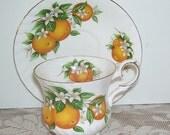 Elizabethan Florida Oranges Cup and Saucer, Fine Bone China England, Bright Oranges, English Teacup and saucer, Tea Cup and Saucer