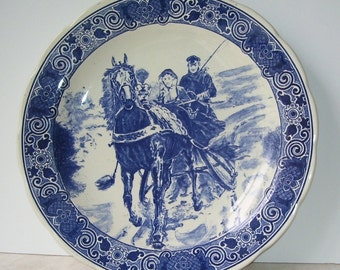 Delft Blue Dutch Charger Plate, Chemhefa, Horse and Sleigh, Holland, Hand Made, Signed Naar O Eerelman,  Delft's Wall Hanging Plate,