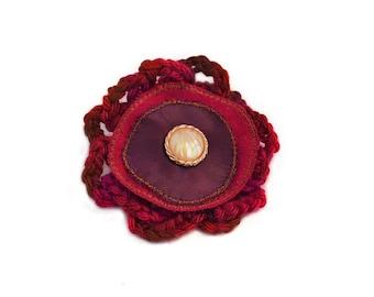 Lapel Pin, scarf pin, hat pin, fabric flower pin, burgundy / purple flower brooch, fiber art corsage, OOAK