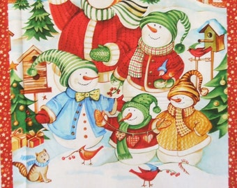 Winter Magic Snowman Holiday Northcott Fabric Wallhanging Panel