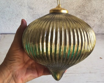 Two oversized golden mercury glass ornaments for Christmas tree or mantle holiday decor