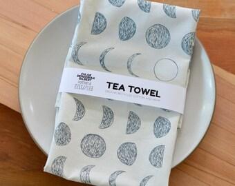 Organic Cotton/Hemp Moon Phase Pattern Tea Towel