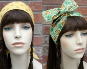 Gold Headband, Green Headband, Reversible Headband, Paisley Headband, Teen Headbands, Wired Headband, Gold Polka Dot Headband, Teen Gifts