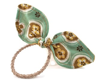 Ponytail Holder Green & Gold Small Pony Tail Bow for Tween Girls Teen Girls Floral Polka Dots Fabric Hair Bow Cute Hair Accessories