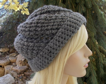 Dark Gray Crochet Hat, Beanies for Teenage Girls, Winter Hats for Women, Gift Ideas for Women, Gifts for Teen Girls, Knit Hat, Cute Beenie