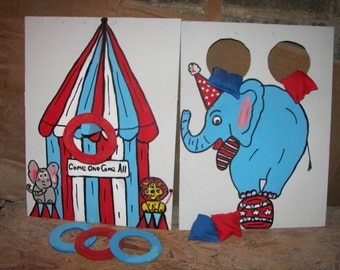New 2  games elephant    and  tent games with   4 rings  and  4  bean bags