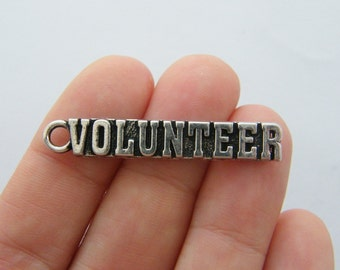 BULK 10 Volunteer charms antique silver tone M832